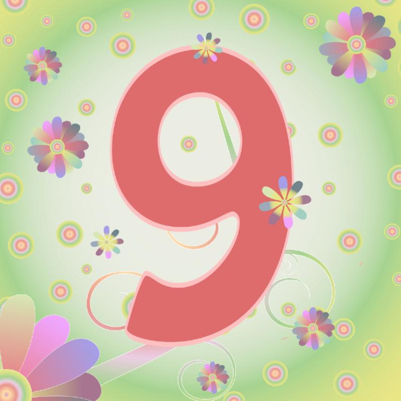 Verjaardagskaarten - flowerpower-9jaar