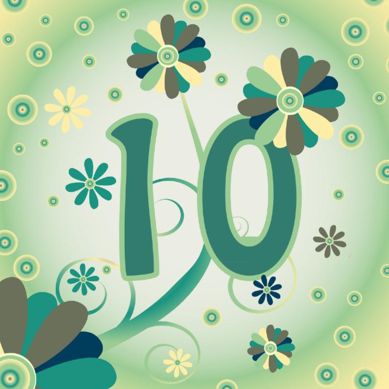 Verjaardagskaarten - flowerpower2 10 jaar