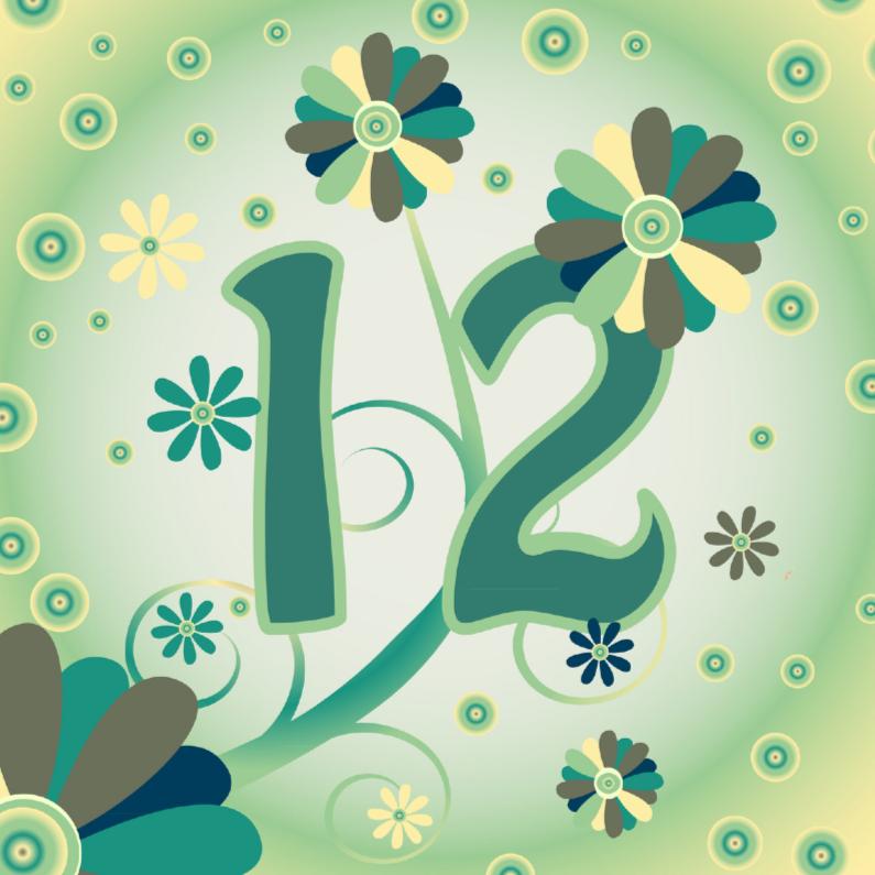 Verjaardagskaarten - flowerpower2 12 jaar