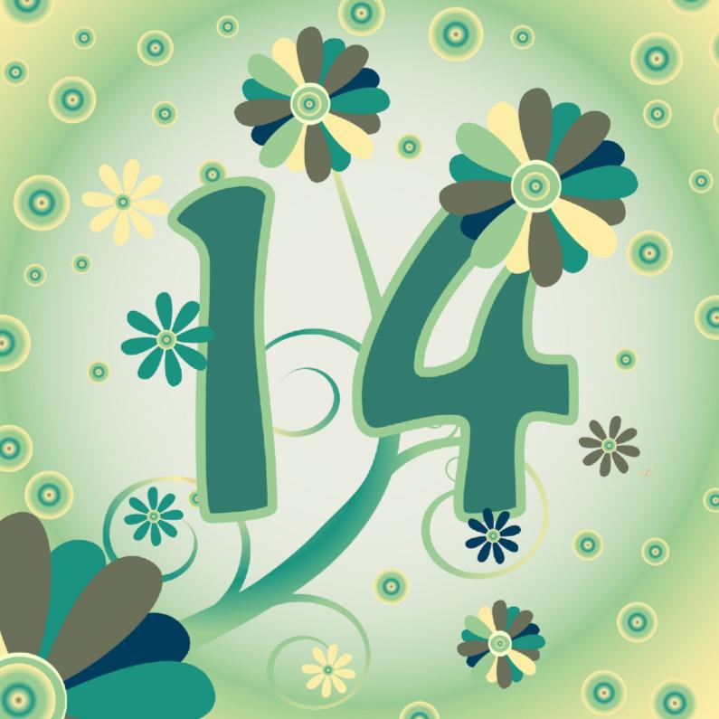 Verjaardagskaarten - flowerpower2 14 jaar