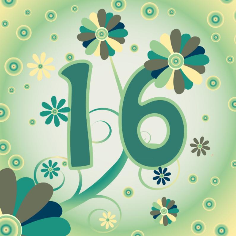 Verjaardagskaarten - flowerpower2 16 jaar