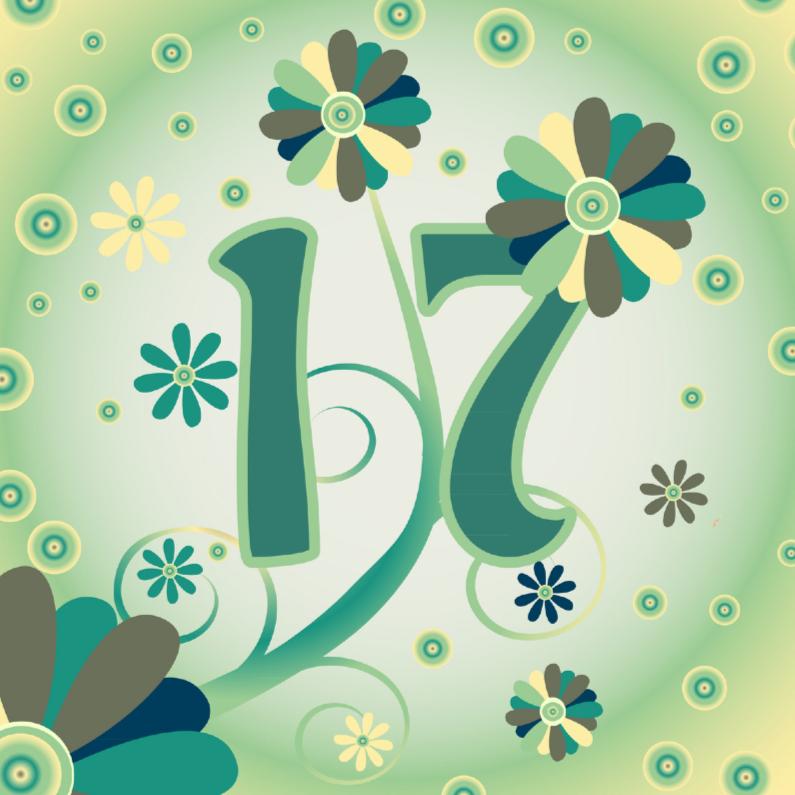 Verjaardagskaarten - flowerpower2 17 jaar