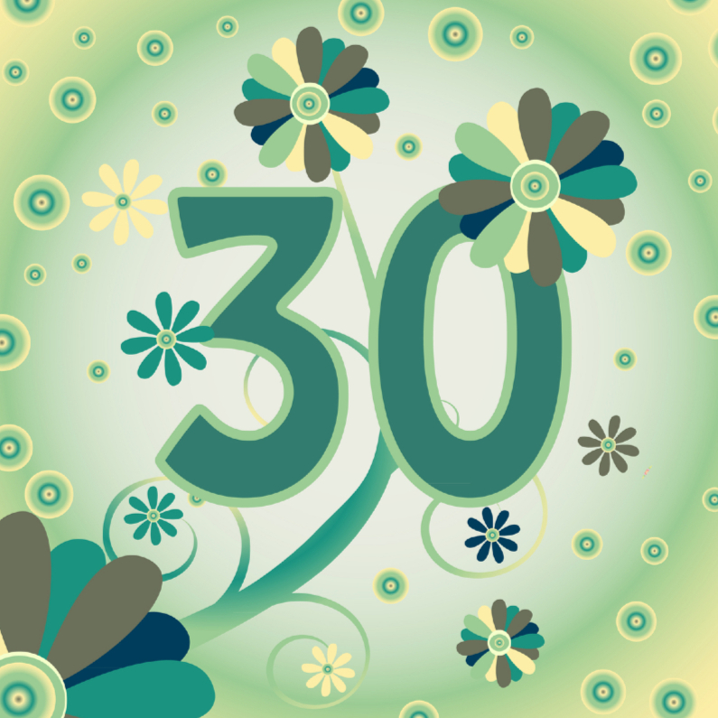 Verjaardagskaarten - flowerpower2 30 jaar