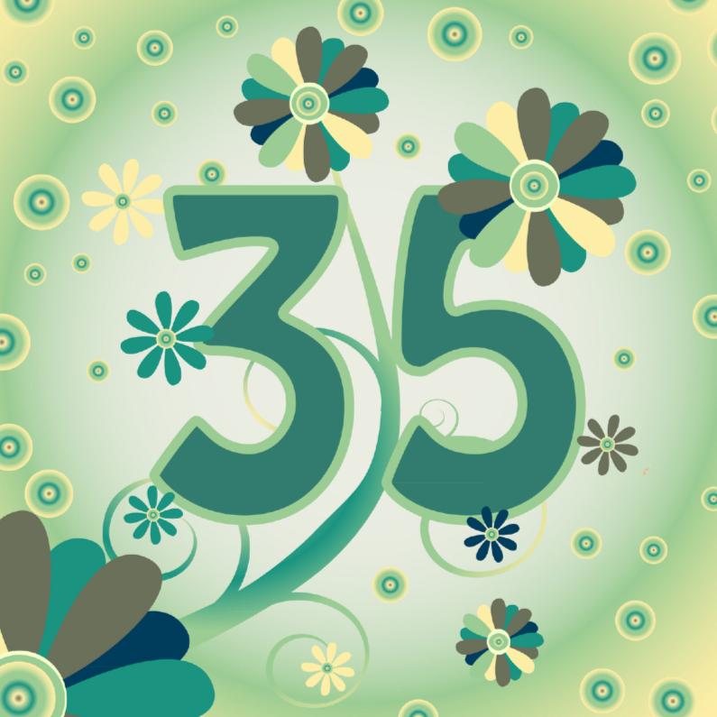 Verjaardagskaarten - flowerpower2 35 jaar