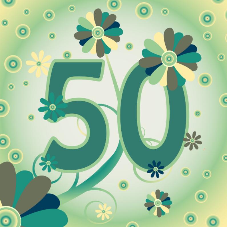 Verjaardagskaarten - flowerpower2 50 jaar