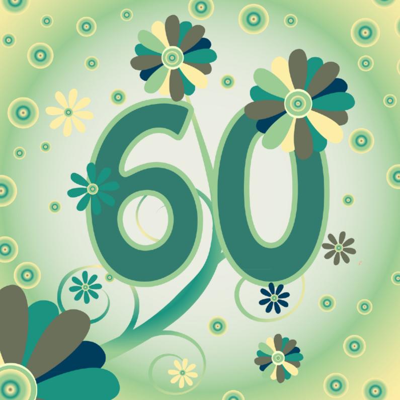 Verjaardagskaarten - flowerpower2 60 jaar