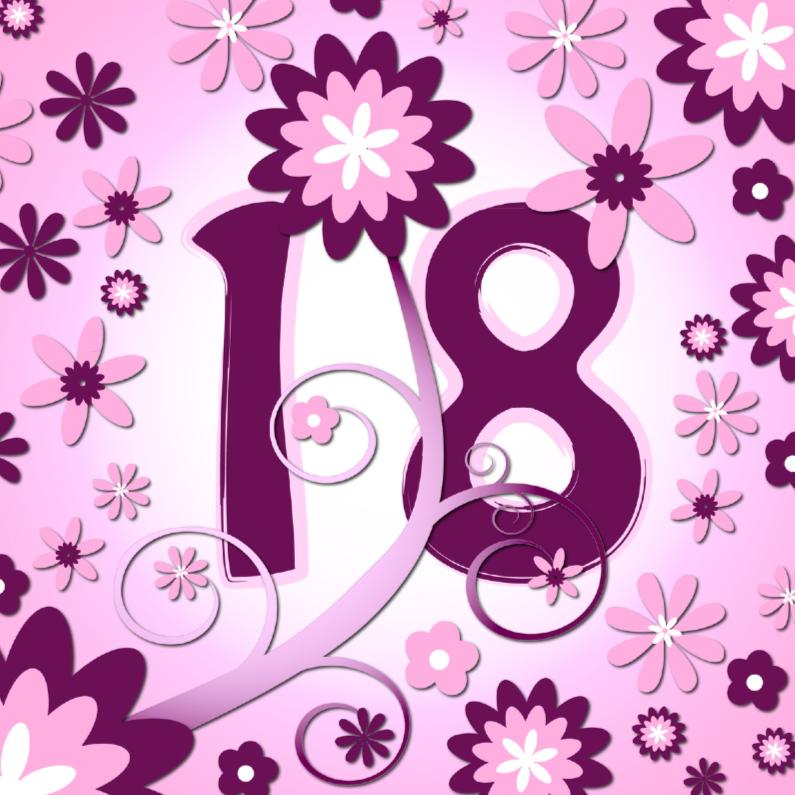 Verjaardagskaarten - flowerpower3 - 18 jaar