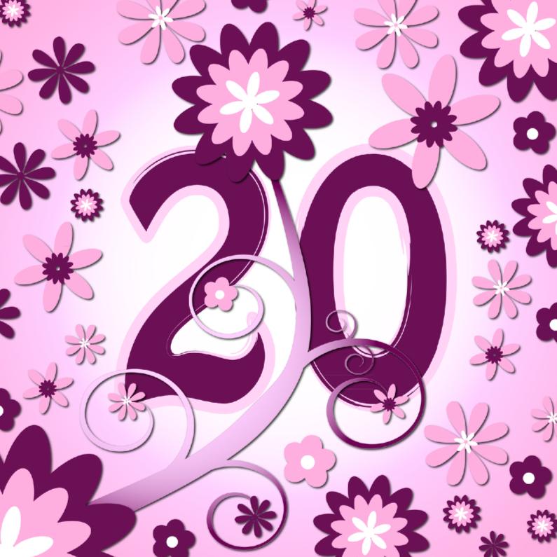 Verjaardagskaarten - flowerpower3 - 20 jaar