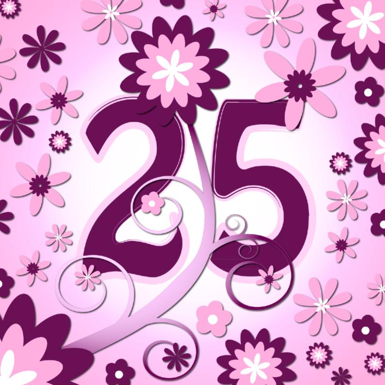 Verjaardagskaarten - flowerpower3 - 25 jaar