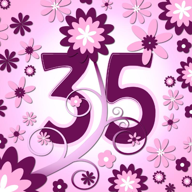 Verjaardagskaarten - flowerpower3 - 35 jaar