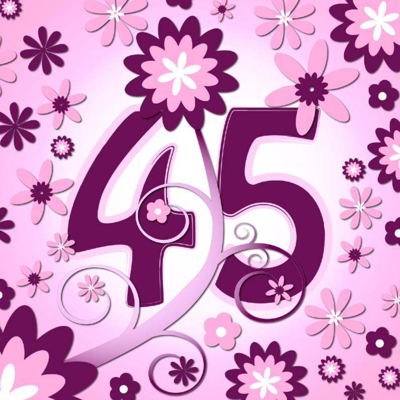 Verjaardagskaarten - flowerpower3 - 45 jaar