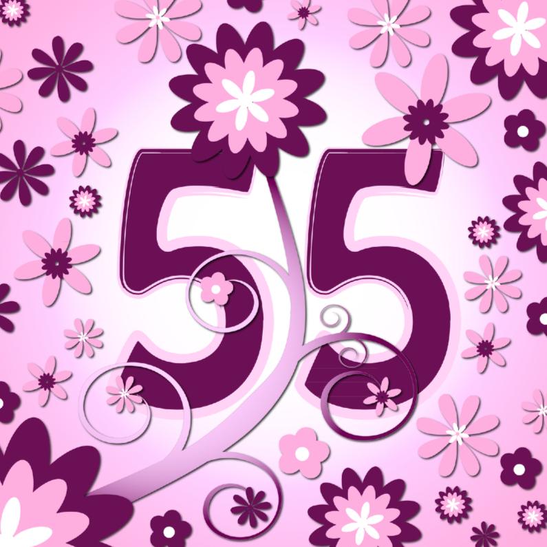 Verjaardagskaarten - flowerpower3 - 55 jaar