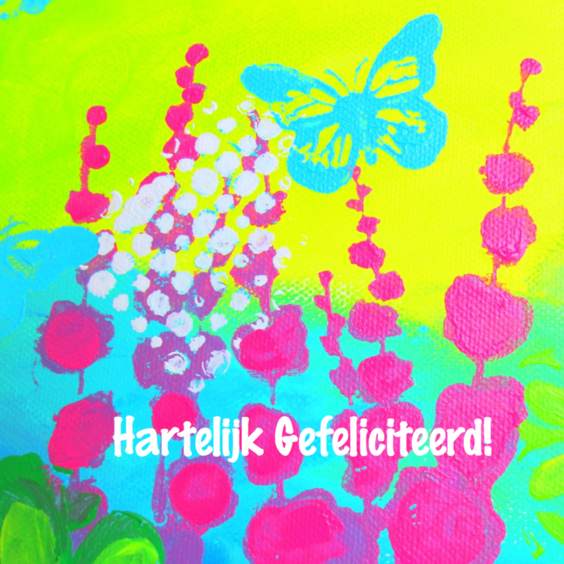 Verjaardagskaarten - Flowers and Butterfly1