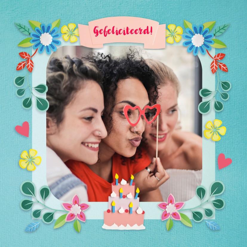 Verjaardagskaarten - Foto felicitatiekaart met bloemen