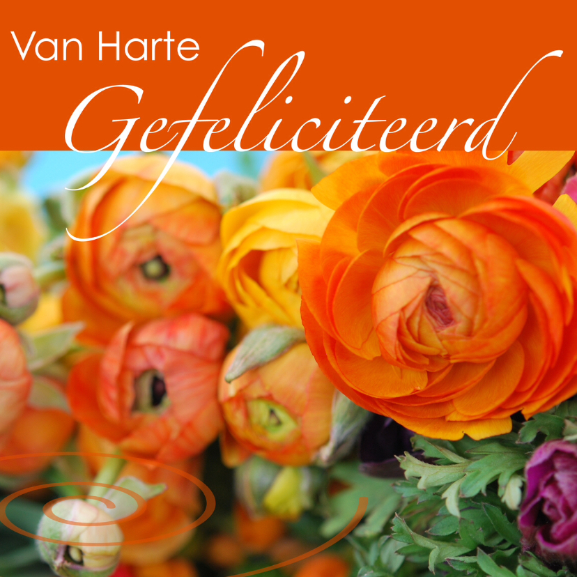Verjaardagskaarten - Fotokaart bloemen oranje