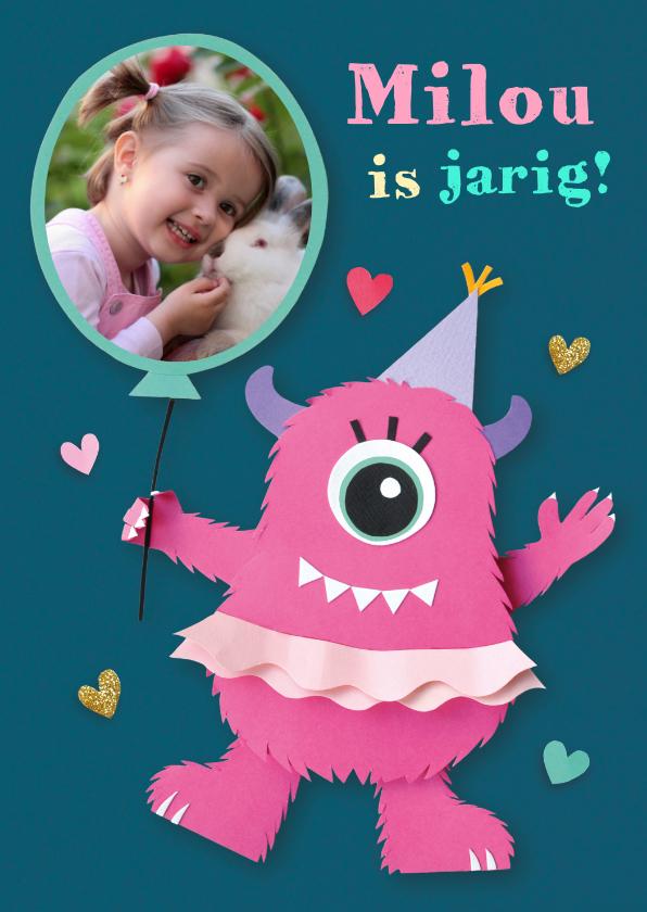 Verjaardagskaarten - Fotokaart met roze monster