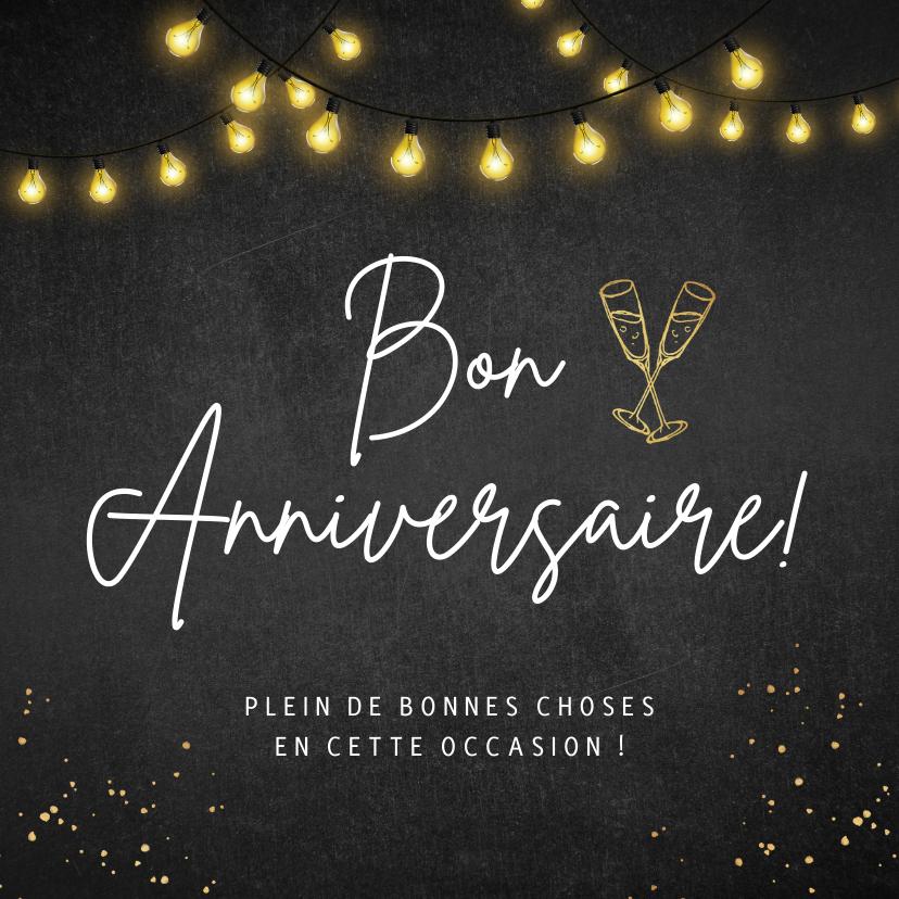 Verjaardagskaarten - Franstalige verjaardagskaart voor een man met lampjes