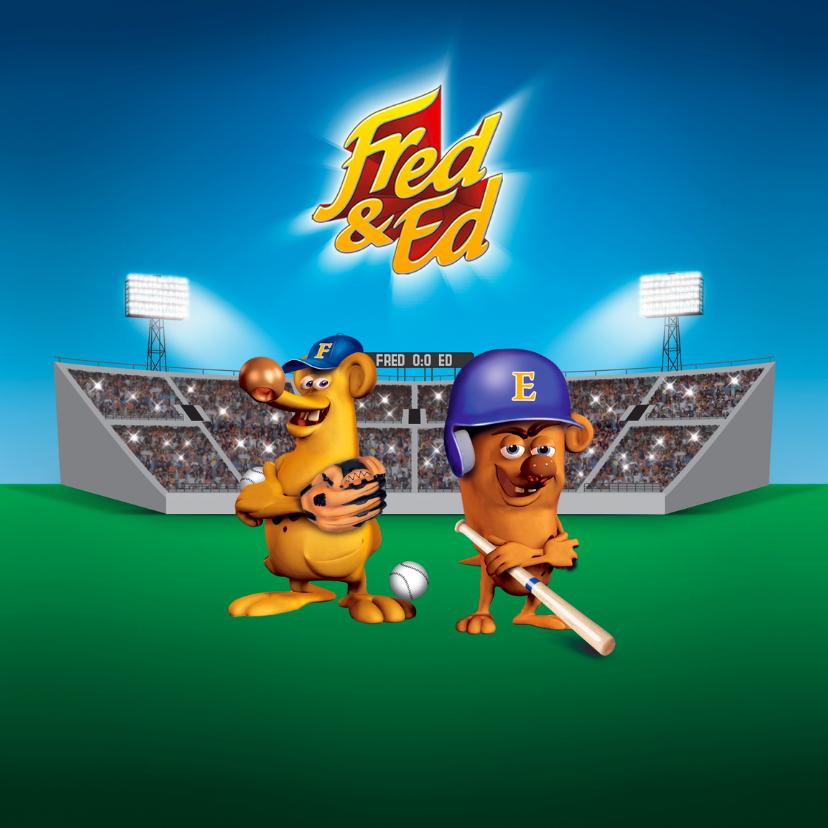 Verjaardagskaarten - Fred en Ed als honkbalkampioenen