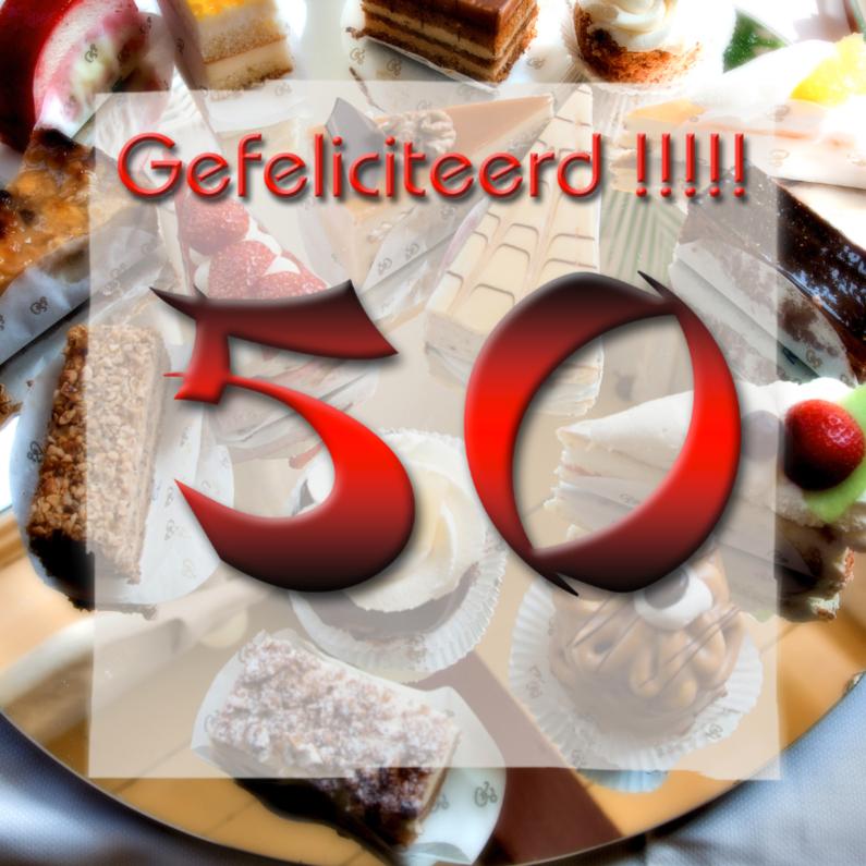 Verjaardagskaarten - gebakje 50