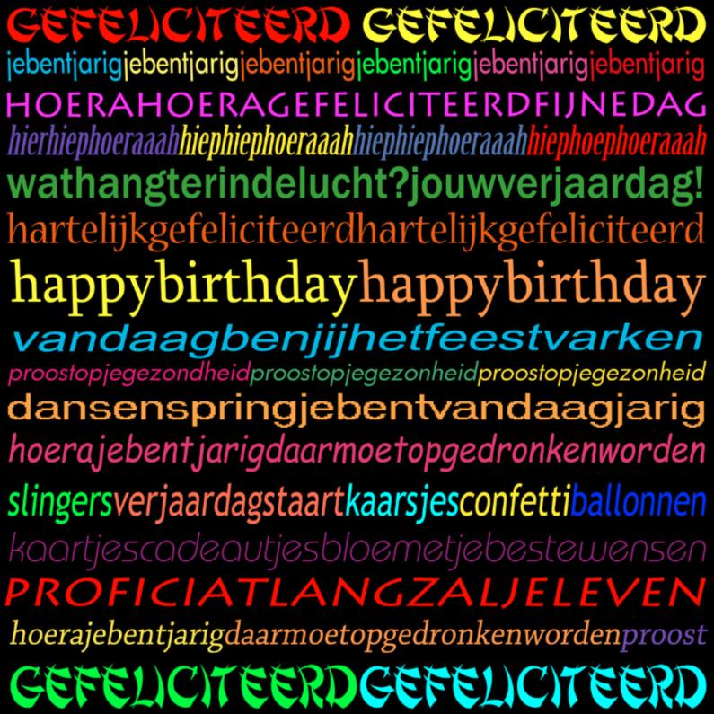 Verjaardagskaarten - gefeli text