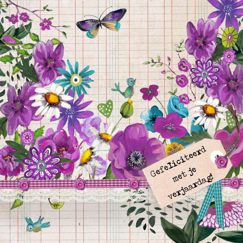 Verjaardagskaarten - Gefeliciteed Ruitjes Bloemen Paars