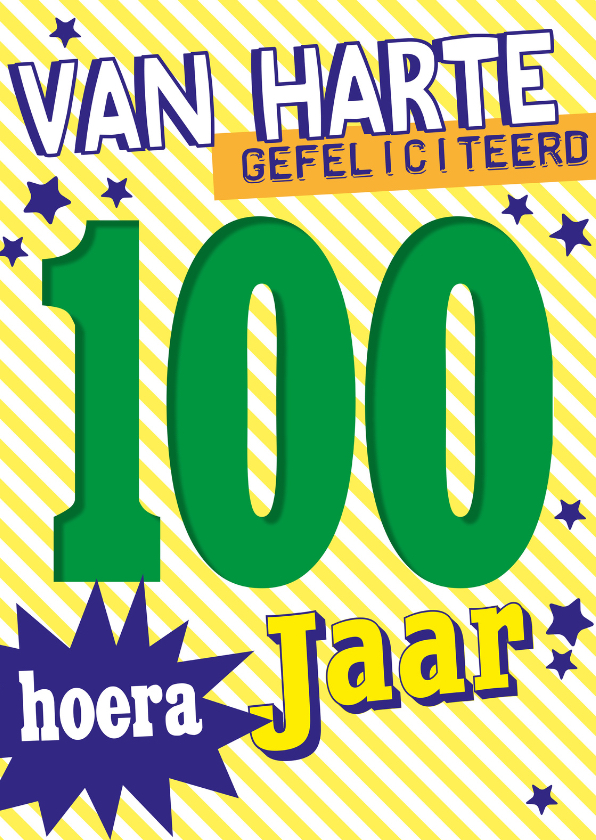 Verjaardagskaarten - gefeliciteerd 100 jaar -BF