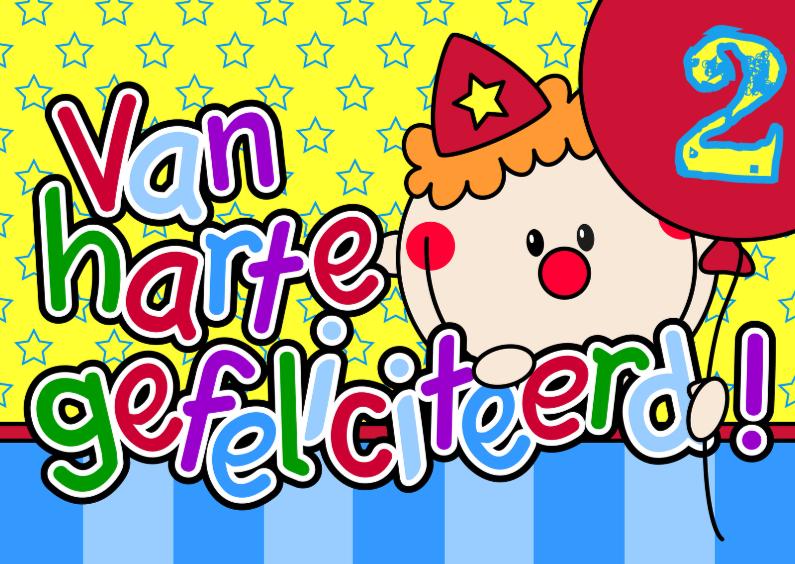 Verjaardagskaarten - Gefeliciteerd blij clowntje