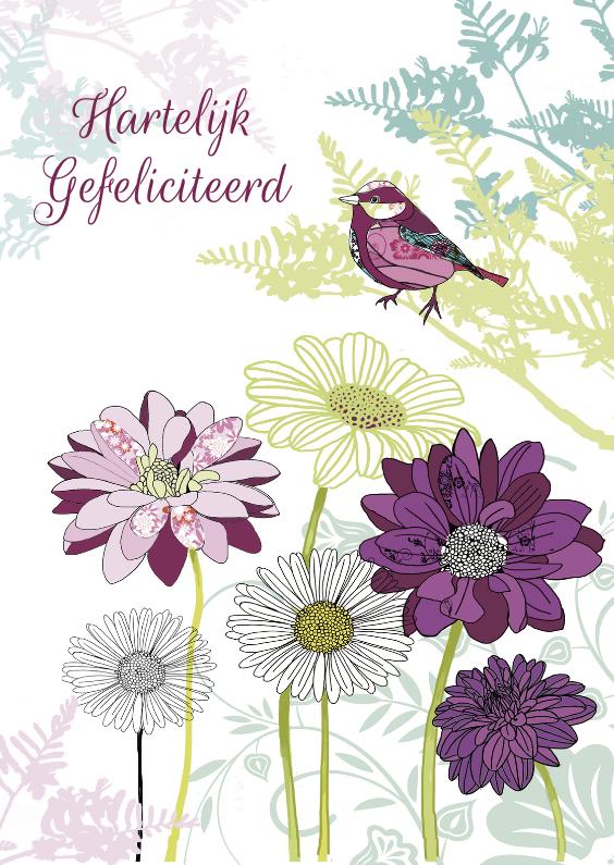 Verjaardagskaarten - Gefeliciteerd bloemen en vogel