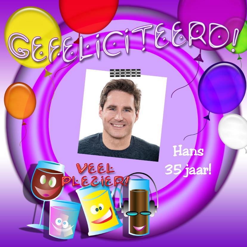 Verjaardagskaarten - Gefeliciteerd c