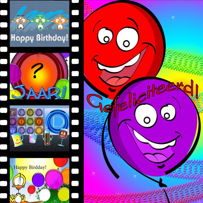 Verjaardagskaarten - Gefeliciteerd dia ballonnen RB