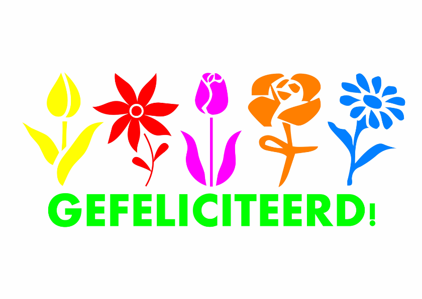 Verjaardagskaarten - Gefeliciteerd flowers bloemen