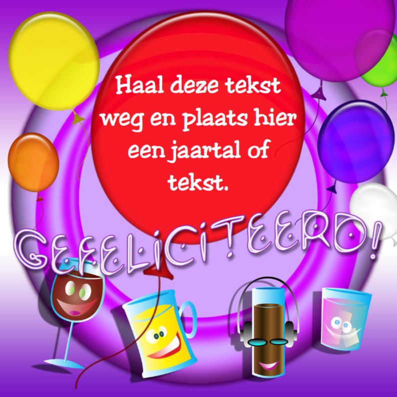 Verjaardagskaarten - Gefeliciteerd glaasjes