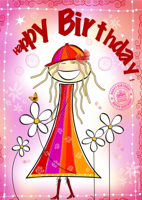 Verjaardagskaarten - Gefeliciteerd  H4Y girl