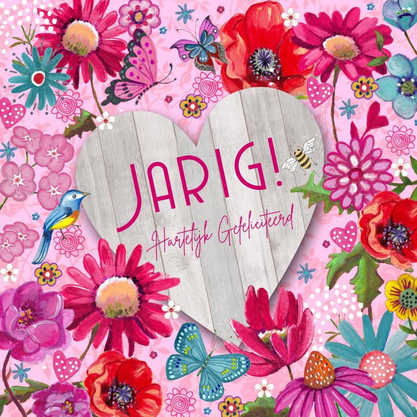 Verjaardagskaarten - Gefeliciteerd HOUT hart Vrolijk Bloemen