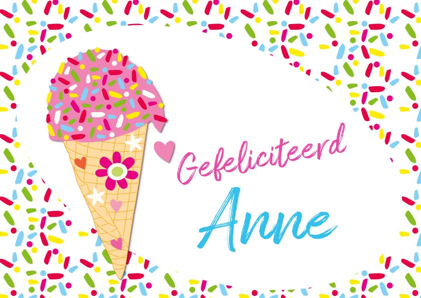 Verjaardagskaarten - Gefeliciteerd ijsje naam aanpasbaar-ByF