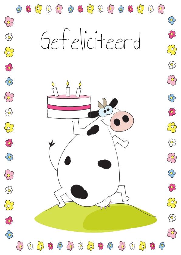 Verjaardagskaarten - Gefeliciteerd koe met taart