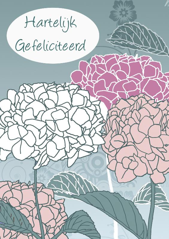 Verjaardagskaarten - Gefeliciteerd met hortensia in kleur