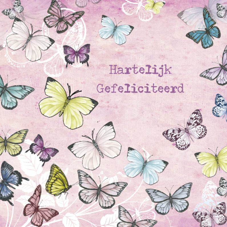 Verjaardagskaarten - Gefeliciteerd met vlinders in vintage