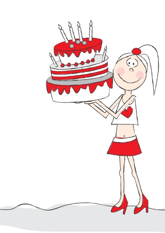 Verjaardagskaarten - Gefeliciteerd taart retro