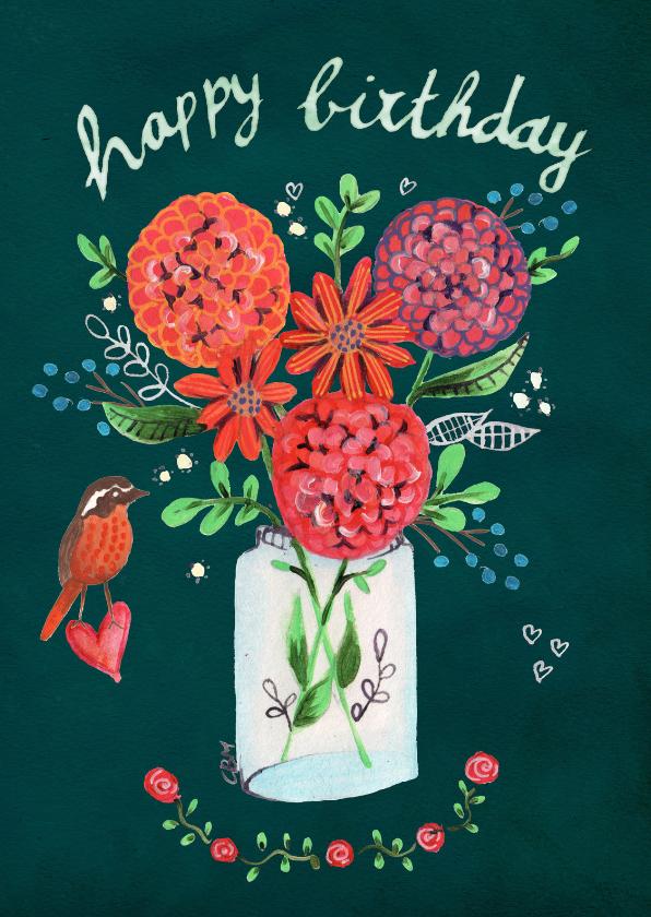 Verjaardagskaarten - Gefeliciteerd vaas met bloemen vogel