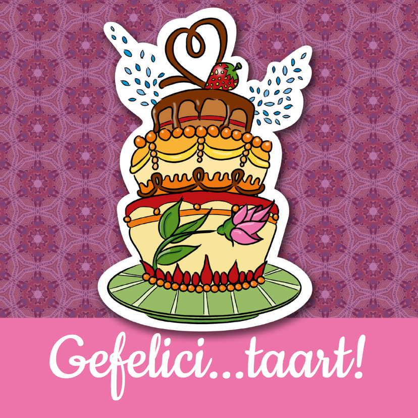 Verjaardagskaarten - Gefeliciteerd - verjaardagstaart