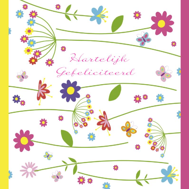 Verjaardagskaarten - gefeliciteerd vrolijke bloemen