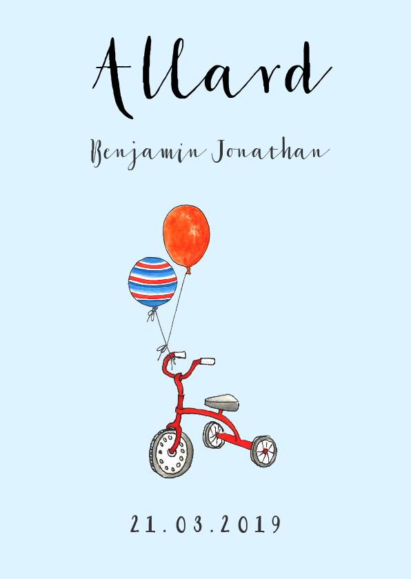 Verjaardagskaarten - Gefeliciteerd zoontje driewieler en ballonen
