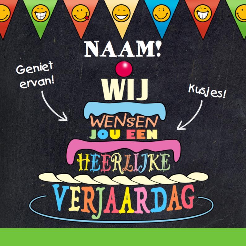 Verjaardagskaarten - Gekleurde teksten op krijtbord in de vorm van een taart