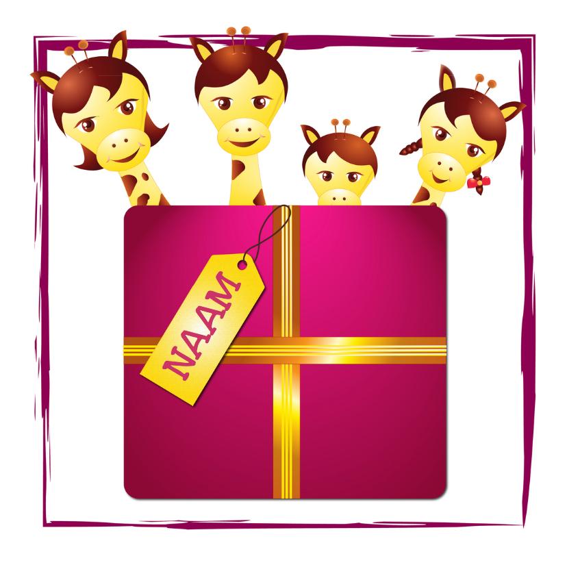 Verjaardagskaarten - Giraffe Familie -met een verjaardagskado