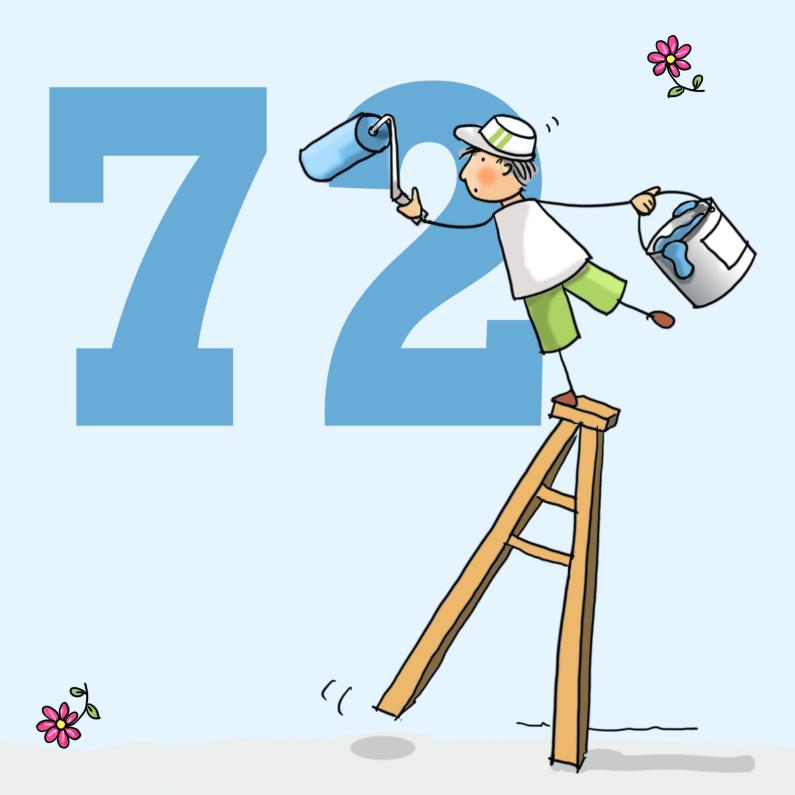 Verjaardagskaarten - Grappige schilder op ladder