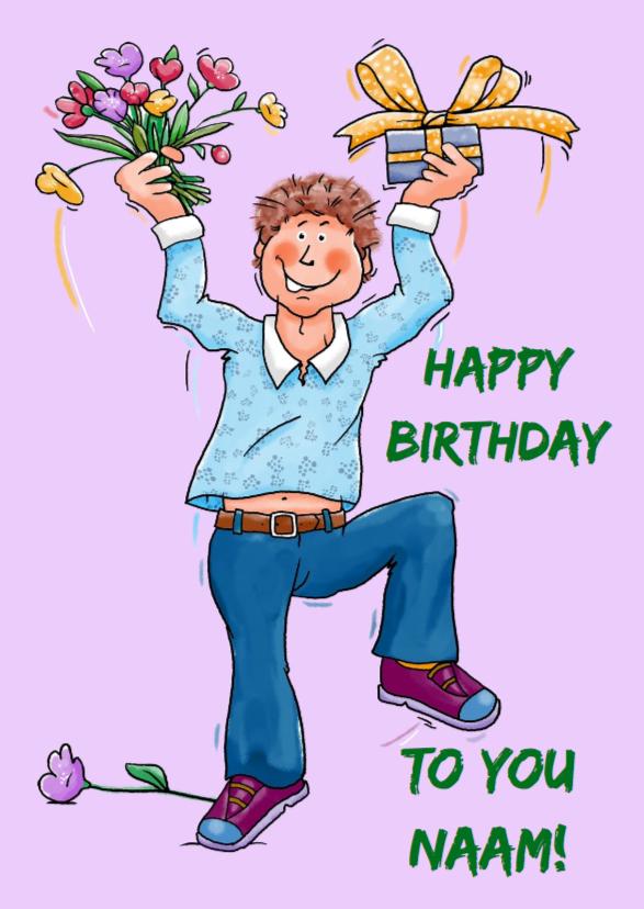 Verjaardagskaarten - Grappige verjaardagkaart dansen man met pakje