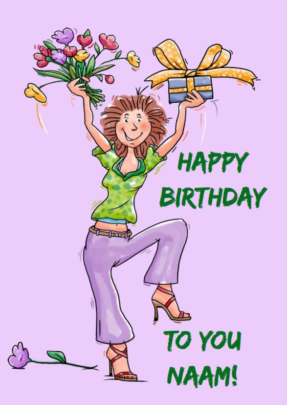 Verjaardagskaarten - Grappige verjaardagkaart dansende vrouw met pakje en bloemen
