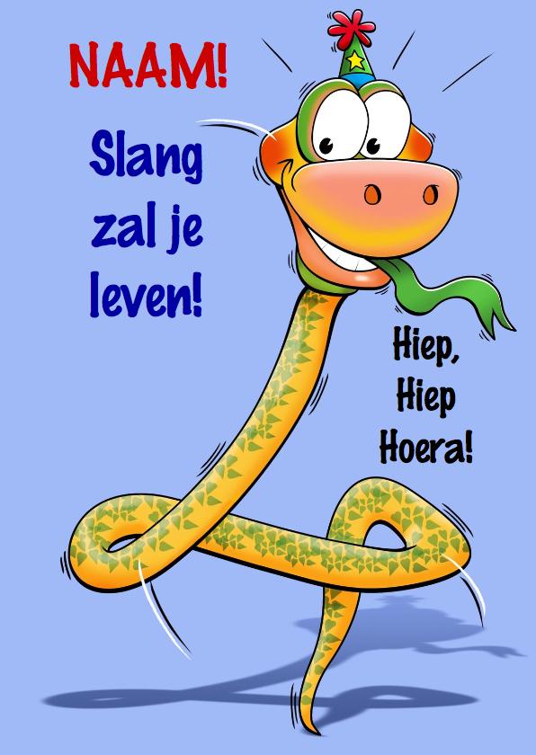 Verjaardagskaarten - Grappige verjaardagkaart slang met lange nek 4 jaar