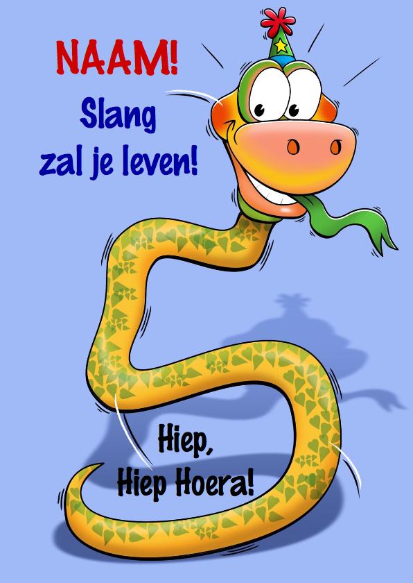 Verjaardagskaarten - Grappige verjaardagkaart slang met lange nek 5 jaar